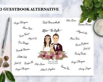 Guestbook alternative, Custom Illustration, Cartoon Couple portrait, Unique, Original guestbook, Illustrated family portrait