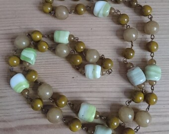Vintage green glass bead necklace