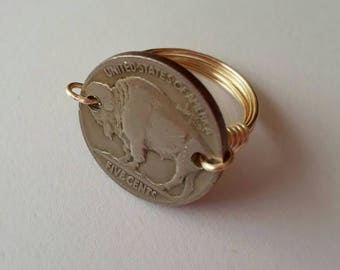Buffalo Nickel wire wrapped ring