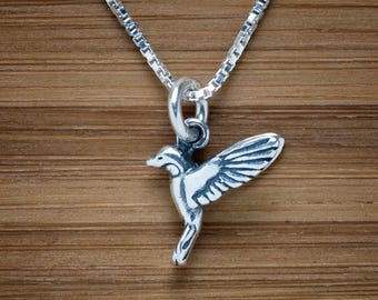 STERLING SILVER Tiny Humming bird 3D Charm Necklace or Earrings - Chain Optional