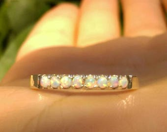 opal ring, opal silver ring, thin silver ring, eternity opal ring, white opal ring, stacking opal ring, Opal Jewelry, fire opal ring
