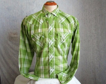 """80s 16 1/2"""" Westerner Men's Pearl Snap Shirt Lime Green Plaid"""