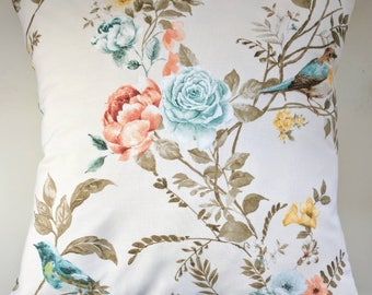 """Cushion Cover in Autumn Bird and Rose Print 16"""""""