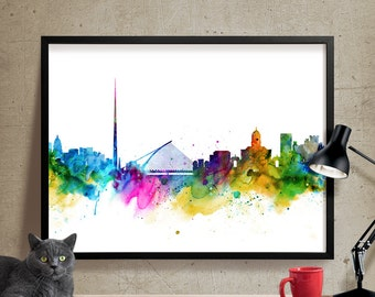 Dublin Skyline, Dublin Cityscape, Dublin Print, Watercolor Art, Watercolor Painting,Dublin Art, Map Poster, Skyline Art, Wall Art(255)