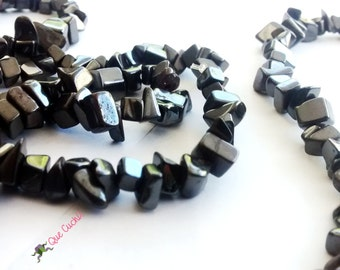 Hematite chips Necklace  of 80 cm