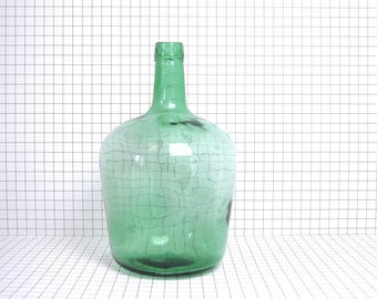 Vintage demijohn bottle 5 liters - Green demijohn bottle - French green glass demijohn carboy wine bottle 5 liters -Glass Demijohn bottle
