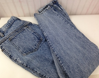 90s High Waisted 28/28 Acid Washed Denim Tapered Jeans Womens Jack Mulqueen