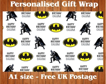 Personalised Batman inspired Birthday Wrapping Paper & 2 tags