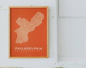 PHILADELPHIA Map. Screen Print Philly Poster. Neighborhood Map. Modern Home Decor Print. Philadelphia Pennsylvania Art Poster. Many Colors.