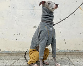 Italian Greyhound Clothing, Fleece Jammies,Jumpsuit,Romper,Onesie,Bi-Color [Gray/Mustard]