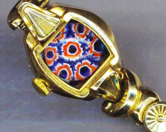 Adjustable Steampunk Bracelet. Upcycled/Recycled Stretchy Watch Band. Red White Blue Millefiori - Kaleidoscope by enchantedbeas on Etsy