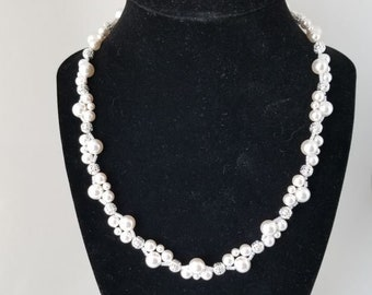 Swarovski Empress White Pearl and Silver Necklace; Swarovski Empress Ivory Pearl and Silver Necklace; Swarovski Pearl Necklace