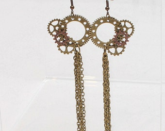 Steampunk Wedding, Steampunk Earrings, Victorian, Handmade Earrings, Steampunk Jewelry, Shoulder Duster, Steampunk Costume, Bridesmaid gift
