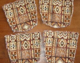 Brown Weaving Design Repurposed Denim Pocket Coasters