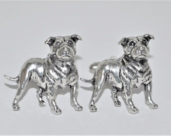 Staffordshire Bull Terrier Dog Cufflinks in English Pewter, Gift Boxed, Staffie, Canine