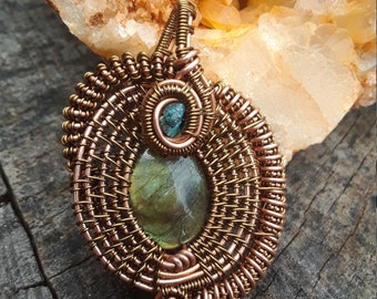 Labradorite and turquoise copper wire wrapped pendant