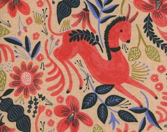 Folk Horse - Coral Cotton/Linen CANVAS - Les Fleurs - Anna Bond Rifle Paper Co - Cotton + Steel - 8011-12 Per Half Yard