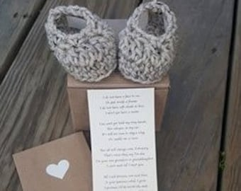 Baby Reveal, Booties, Poem Included, Announcement, 0-3 Months, Pregnancy Announcement, New Grandparent Gift