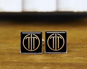 initial cufflinks, custom 2 letters cufflinks, round or square cufflinks & tie clips, groom gifts, wedding cufflinks,1920s film cufflinks