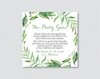 Green Panty Game - Printable Wreath Lingerie Shower Panty Game Cards AND Sign - Lingerie Shower Game, Simple Bachelorette Party Game 0021