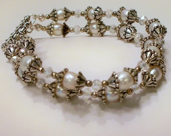 Camelot Double Freshwater Pearl Bracelet