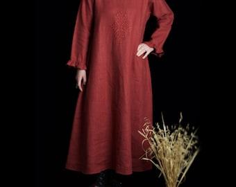 Long linen dress slip, long sleeve, embroidery, ruffle, winter linen dress, size Medium Large
