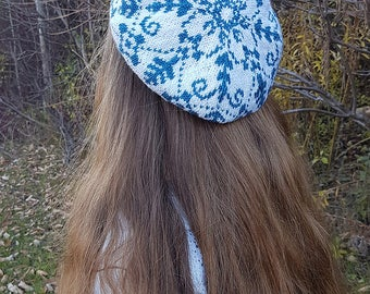 "Adult beret (""Delft"") knitting pattern (PDF)"