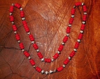 """Coral & Silver Beaded Necklace/27"""""""