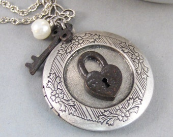 Locked Amulet,Locket,Silver Locket,Lock,Key,Personalize,Birthstone Necklace,Birthstone,Gothic,Oxidize,Handmade jewelry by valleygirldesigns.