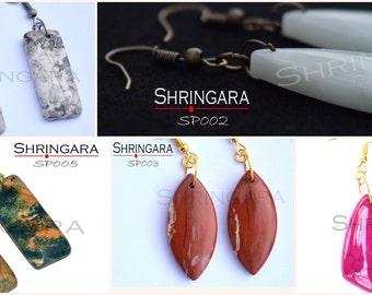 Shringara-Gemstone earrings, semi-precious, Pink Agate, Amazonite, Red Jasper, Grey Agate, Picture Jasper, Earrings, Statement Earrings