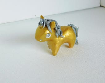 Gold and Silver Small Unicorn Sculpture