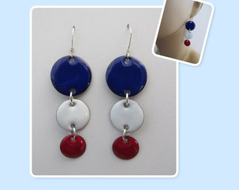Red, White and Blue Patriotic Circle Enamel Sterling Silver Long Geometric Earrings