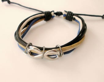 Infinity Leather & Cord Bracelet, Black Leather Bracelet with Cord, Adjustable bracelet, Infinity Charm Bracelet, Men's Jewelry Gift for Him