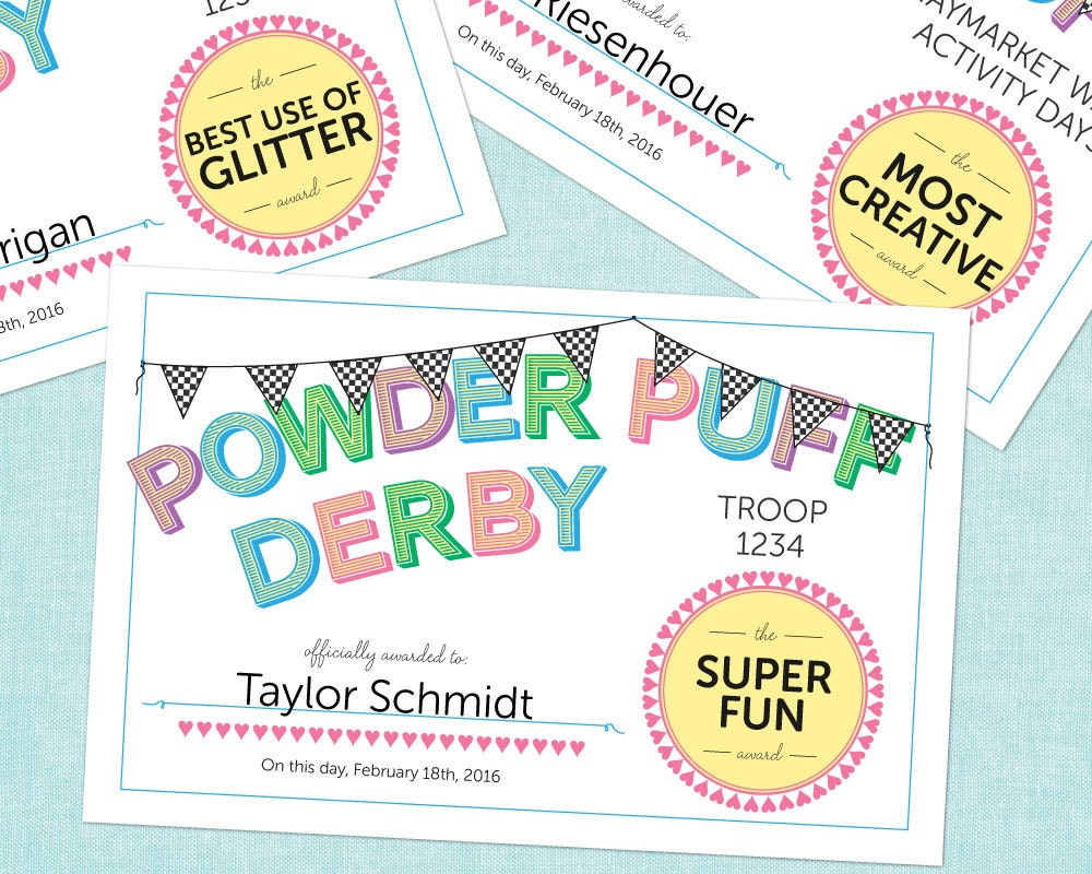 Editable powder puff derby style award certificates instant zoom 1betcityfo Image collections