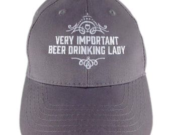 Very Important Beer Drinking Lady Ball Cap