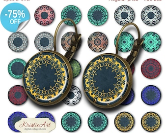 75% OFF SALE Vintage Swirls - 18mm, 16mm, 14mm, 12mm, 10mm Circles Digital Collage Sheets E-015 Printable Earring, Rings, Jewelry