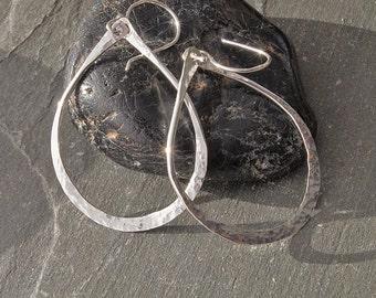 Oval Hoop Earrings, Silver Oval Hoops, Long Silver Earrings, Gift for Her, Lightweight Sterling Silver Earrings, Hammered Silver Earrings