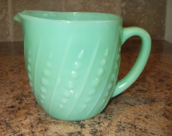 FREE USA Shipping-Vintage Fire King Jadeite Bead and Bar Milk Pitcher-Exc.
