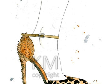 Spiked Out, Fashion Illustration Watercolor Painting Print  --  Leopard and gold Home/office decor and wall art,l Fashion prints