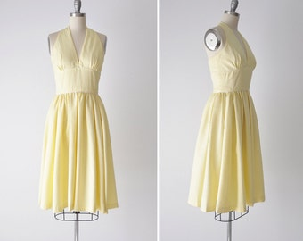Nina dress • handmade cotton sundress • pale yellow halter gathered dress