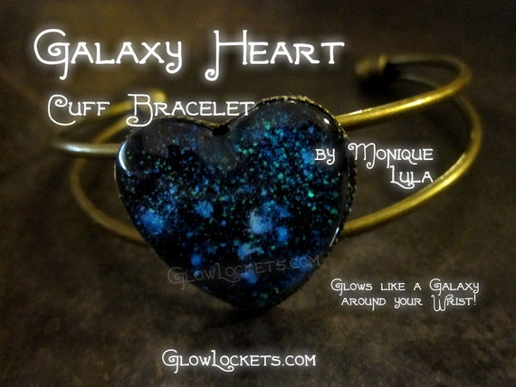 Galaxy Heart Outer Space Glow Cuff Bracelet Constellations Stars