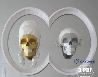 Papercraft Skulls, Wigged Skulls, Marie Antoinette, Louis XVI, Double Frame, Bundle, Beheaded King and Queen, French History, PDF Templates