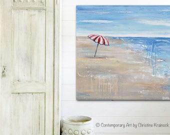 ORIGINAL Large Art Abstract Painting Beach Wall Art Acrylic Painting Summer Decor Coastal Home Wall Decor Red Umbrella Seascape - Christine