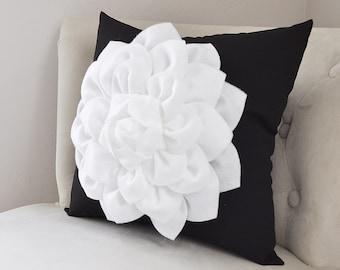 Decorative Throw Pillow White Dahlia Flower on Black Pillow Accent Pillow Throw Pillow Toss Pillow