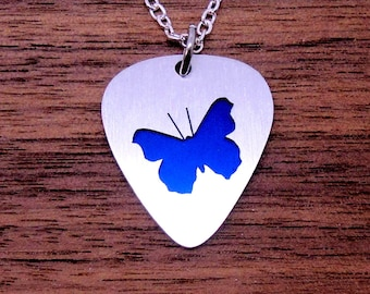 Butterfly Necklace, Butterfly Keychain Made From Guitar Picks, Womens Necklace