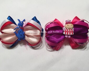 Set Of Two DocMcstuffins Inspired Mini Hair bows Stuffy and Haillie