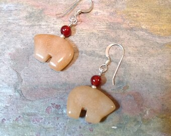 Bear Fetish Zuni Gemstone Earrings Sterling Silver Peach Aventurine & Carnelian