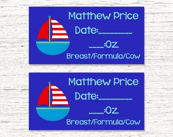 80 Dishwasher-Safe Removable Baby Bottle Labels -  Personalized breast milk labels for daycare - Sailboat