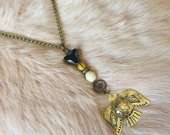 THUNDERBIRD brass bohemian necklace warrior woman vibe