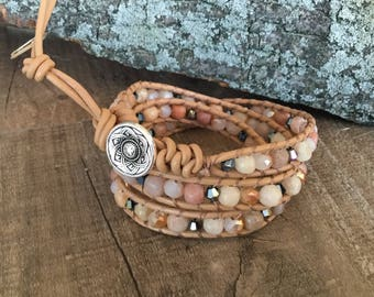 A1040 Leather Triple Wrap Bracelet with Agate and Crystal Beads